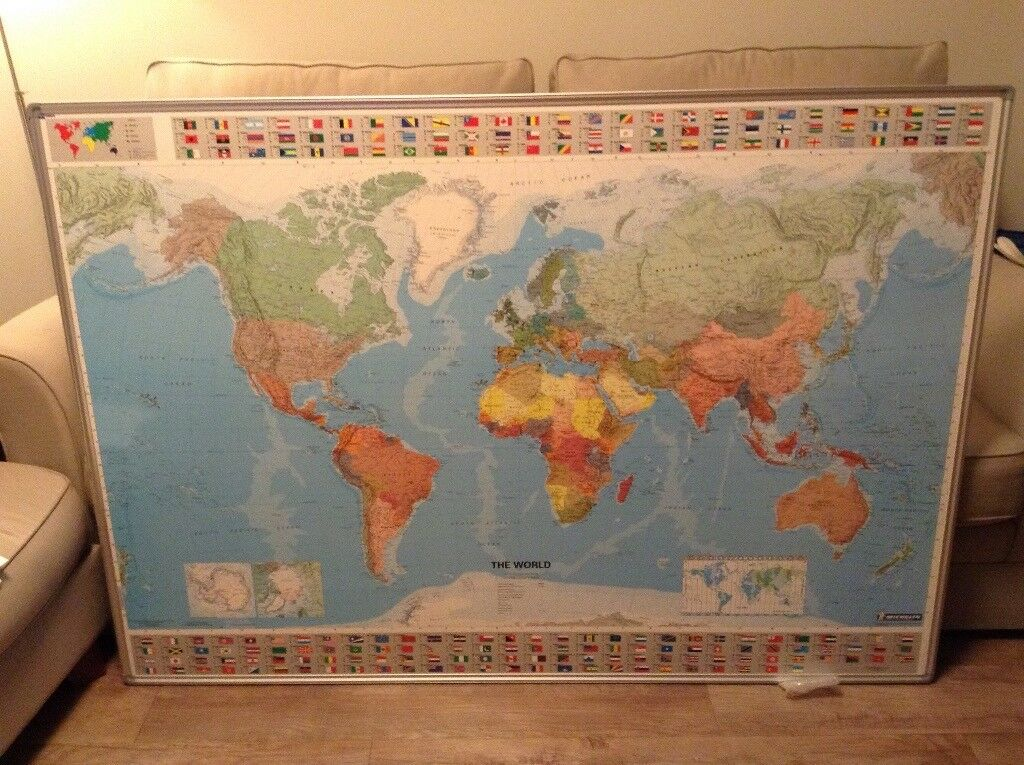 Large Michelin World Map Picture Board Framed Art Education Children