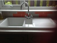 Kitchen sink, white ceramic