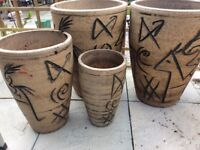 SET OF 4 MATCHING GARDEN POTS