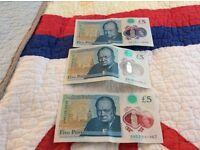 Rare three five pound note collectibles