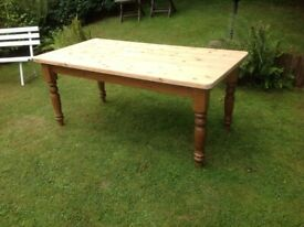 LARGE RUSTIC FARMHOUSE TABLE WITH A REFURBISHED TOP AND FREE DELIVERY