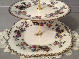 Aynsley Bone China 2 Tier Cake Stand.