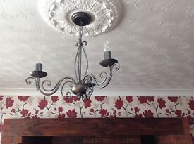 Pair of 3 light ceiling fittings