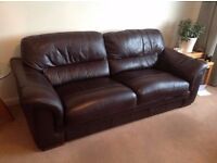 Showroom Condition Quality Real Leather Suite Sofa With Two Armchairs,Can Deliver