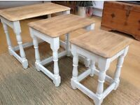 Solid Oak Nest of Side Tables / Coffee Tables
