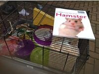 Hamster cage & toys & book