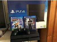 PS4 500gb Console with Ratchet and Clank and Unchatered 4