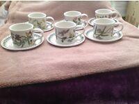 NEW SET PORTMEIRION 6 MOCHA COFFEE CUPS & SAUCERS BOTANIC