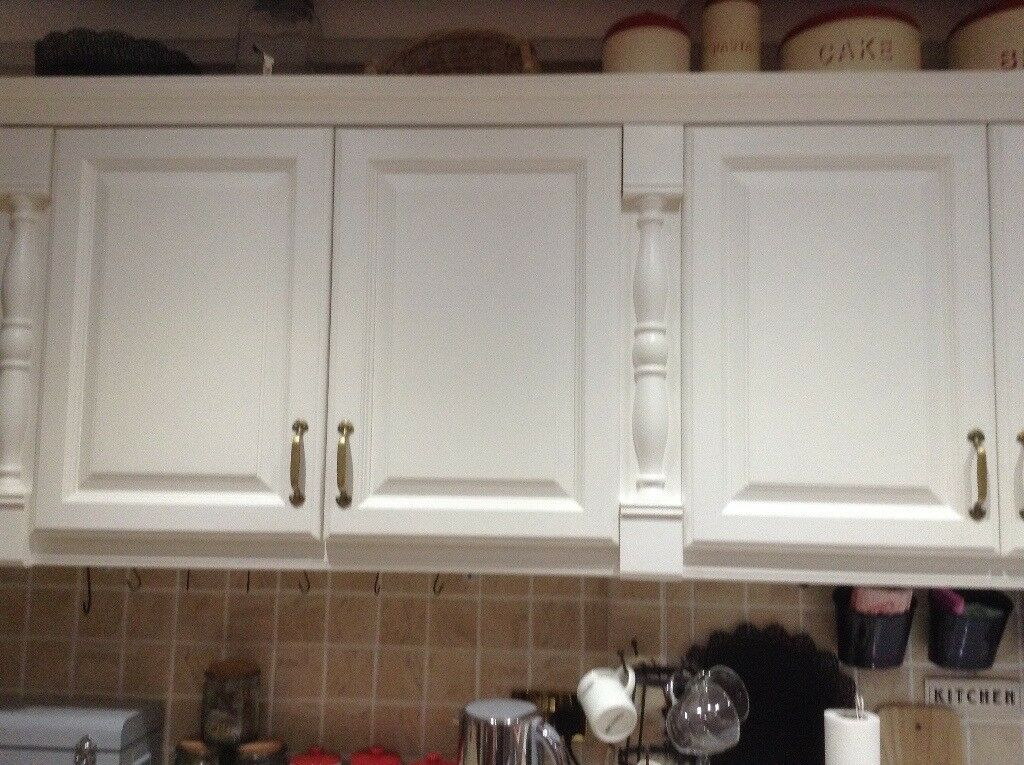 Kitchen units mix of base and wall cupboards solid wood for Grey kitchen wall units