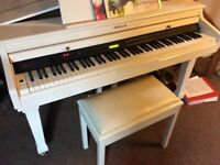 WHITE ORLA CDP31 BABY GRAND 310 STAGE PRO DIGITAL PIANO WITH STORAGE STOOL - MUST SELL
