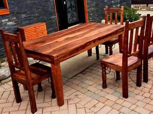Handcrafted Solid Rosewood Harvest Dining Table and 6 Chairs - Reclaimed Rustic Industrial Farmhouse