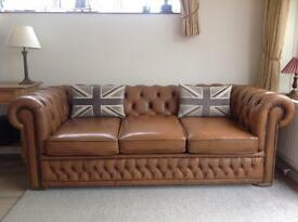 Stunning tan Chesterfield sofa. Can deliver