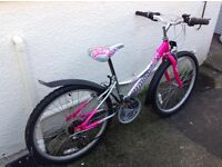 Girls montare falcon pink and silver bike
