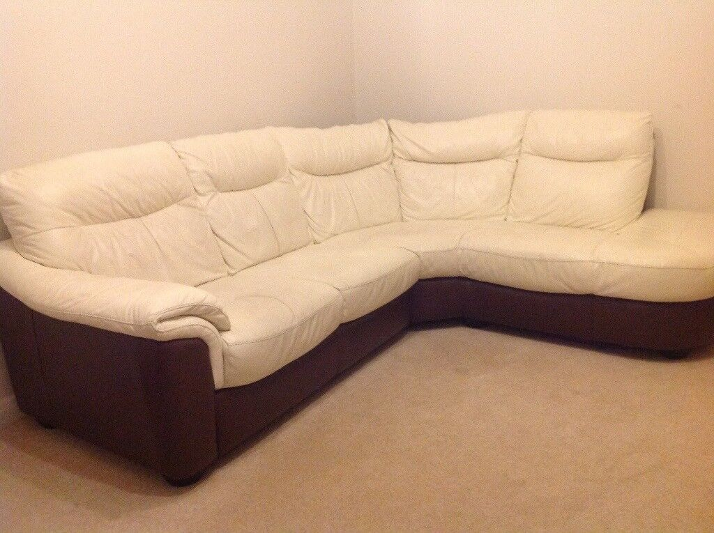 Polar White And Brown Curved Corner Leather Sofa From Dfs
