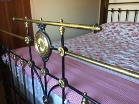 Genuine Victorian Antique 6ft Superking Bed & Mattress