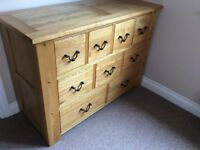 Solid Oak Chest of 9 Drawers