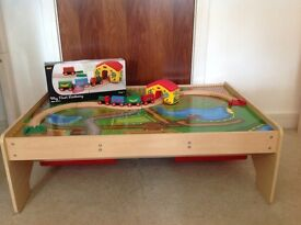 Bigjigs train table with drawers and Brio train set