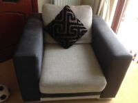 Contempory corner sofa with footstool