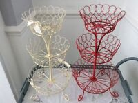 2 Wire 3 Tier Cup Cake / Fruit Stands. Cream & Red
