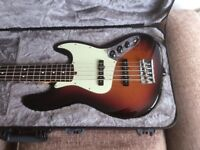 FENDER AMERICAN PROFESSIONAL 5 STRING Bass guitar with Fender Hard Case.