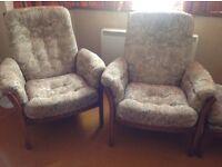 Excellent condition Ercol Saville design 1985. 3 piece lounge suite plus footstool.