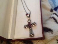 Silver marcasite cross and chain