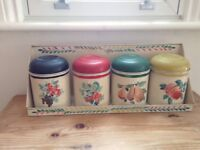 Rare set of four vintage Worcesterware storage canisters with shelf