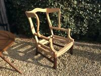 Vintage, Georgian style wing chair frame