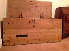 Solid antique pine trunk
