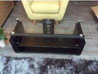 Large TV glass stand with 2 shelves for Sound Systems Etc