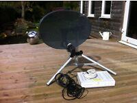 Sky dish folding tripod stand and sky box