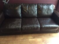 Leather 3 seat sofa, with pull out double bed.