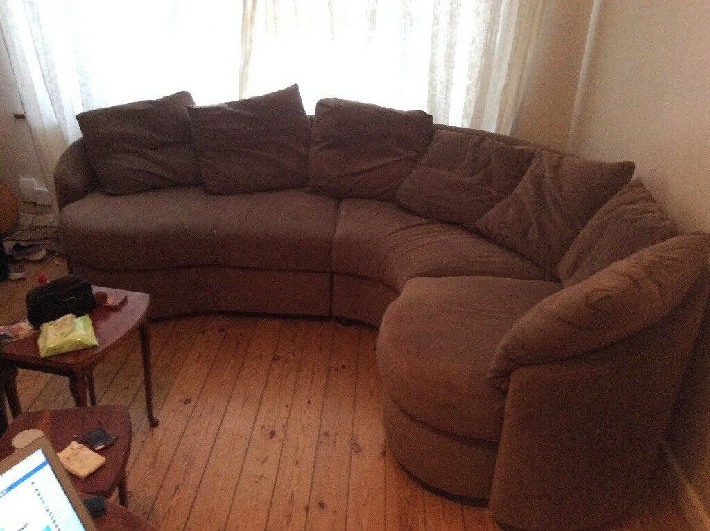 Corner Sofa, Brown Fabric, Free, Buyer Collects
