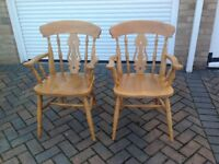 Pair solid Beech Carver Chairs