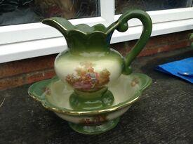 Green patterned wash basin and jug