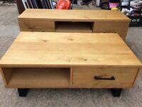 Industrial Oak Veneer Coffee Table and TV Stand