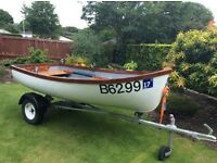 9ft Rowing boat with oars and trailer