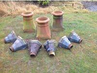 3 Victorian terracotta chimney pots