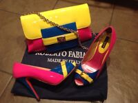 Brightly coloured leather shoes and handbag, bag not used, shoes only worn once.