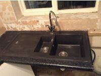 Sink with taps and waste complete