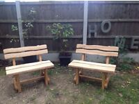 Quality Handmade Garden kitchen ASH TREE pair of benches, new