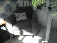 2 X Armchairs. Aurora design from D.F.S in Grey.
