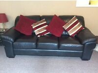 Immaculate black leather sofa & 2 arm chairs