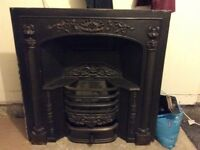 Black cast iron fire and hearth.
