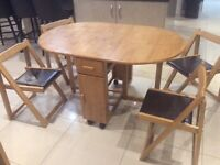 Butterfly Drop Leaf Folding Dining Table and Four Chairs