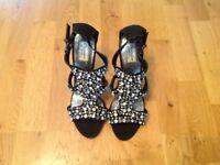 Black Strappy Diamante Sandals ***Never worn*** size 6.5