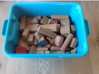 Large box of wooden building blocks
