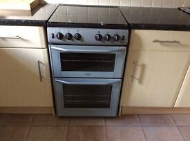 GAS COOKER WITH GLASS LID. MAIN OVEN WITH SEPARATE GRILL SECTION