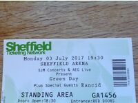 Greenday Ticket for Sheffield Arena 03-07-2017