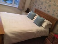 SOLID OAK DOUBLE BED FRAME AS NEW